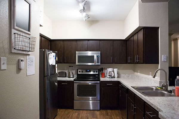 kitchen inside the apartments