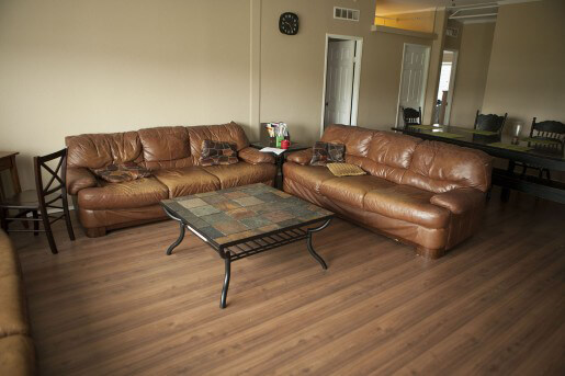 leather couches and seating area